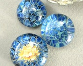 Tropical Ocean Blue Trio -  Lampwork Glass Cabochon Set - Jewelry Making Supply - 19mm