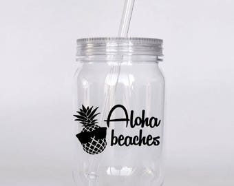 Aloha Beaches Plastic Mason Jar Tumbler With Lid Beach Bachelorette Party Pineapple Pool Favors