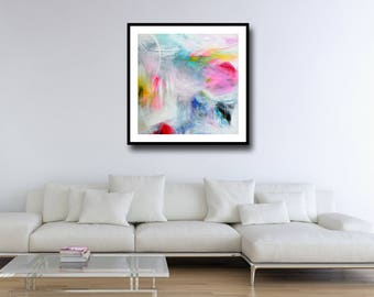 Large Abstract Wall Art, Giclee Print from Painting, Pink, White and Blue Abstract, Modern Art Print on Paper, Contemporary Artwork