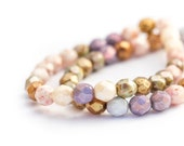 Pearlescent Faceted Round Spacer Beads, Multicolour Opaque Luster Mix, Fire Polished Czech Glass, 6mm x 25pc (0017)