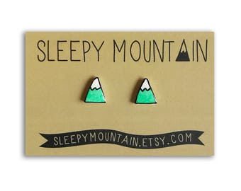 Mountain Earrings - Turquoise Snowcapped Mountain Peak Studs