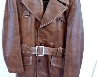1960's Men's Leather Top Coat with Zip-Out Wool Liner and Saddle Top Stitching Size 38-39 Rust