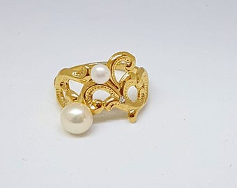 Classic Gold Ring, Pearls Swarovski Ring, June Birthstone Ring, Gemstone Ring, June Birthstone Jewelry, Statement Rings, Gold Jewelry