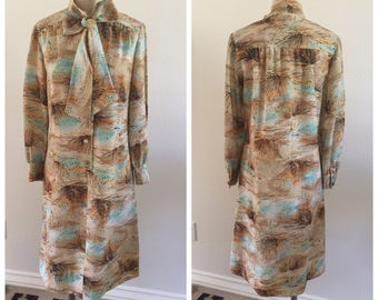 70's Vintage Desert Print Pussy Bow Shirt Dress - Size Medium