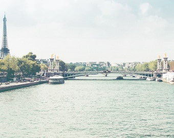 RIVER SEINE PARIS France Fine Art Photography ~ Pick Your Size Print, Eiffel Tower, Pont Alexander Bridge, French, Europe, Travel, European,