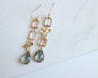 Long Floral Dangle Earrings, Gemstone Drop Dangle Earrings, Bridesmaid Gifts, Bridesmaid Earrings, Crystal Jewelry Wedding