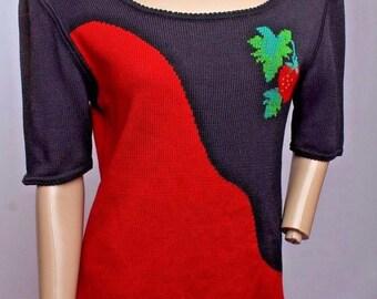 Vintage Emanuel Ungaro Parallele Paris Strawberry Fruit Novelty Knit Sweater