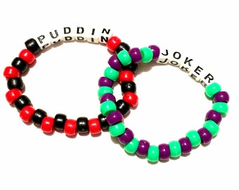 Kandi bracelets- Joker and Harley Quinn Beaded Bracelets- Set of 2- Joker Costume, Harley Quinn Costume, Suicide Squad Costume