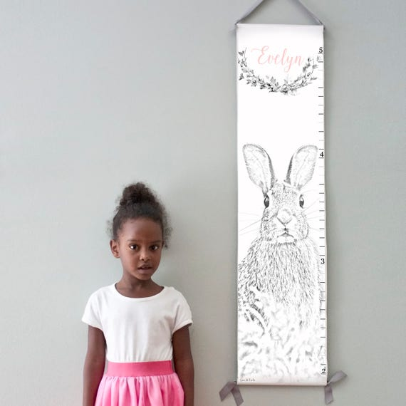 Custom/ Personalized bunny rabbit canvas growth chart - perfect for baby girl's nursery or big girl room