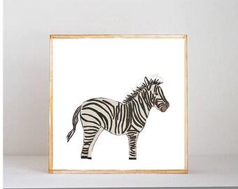 zebra boho nursery art -safari boy nursery- 5x5 art block-  gender neutral geometric wall art- nursery decor-redtilestudio, jungle nursery
