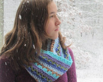 Infinity Scarf, hand crocheted, multi-color