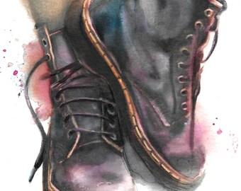 HM111 Dr Martens original painting watercolor art by Helga McLeod
