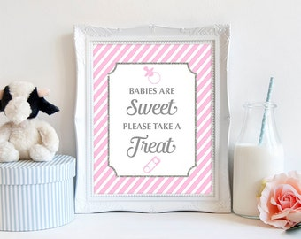 Babies Are Sweet Please Take a Treat Printable Sign, Pink & Gray Stripe Shower Sign, Favor Sign, INSTANT DOWNLOAD