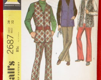 Vintage McCall's 2687 Men's Flared Pants & Vest Sewing Pattern