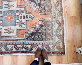 "vintage Turkish rug, rustic geometric rug, faded bohemian area rug, 8'6""x 4'2"""