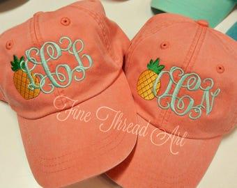 LADIES Pineapple Monogram Baseball Cap Hat LEATHER strap Mom Bridesmaid Bride Bachelorette Pigment Dyed Nautical Beach Summer Hawaii