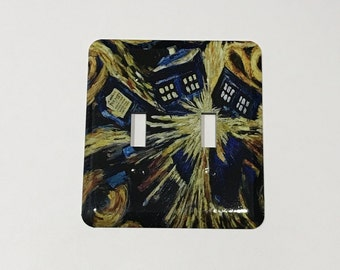 NEW Van Gogh Tardis Double Switch Plate -  Doctor Who Light Switch Plate - Timey Wimey Switchy Witchy