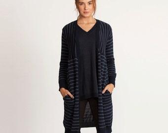 Knit cardigan, long sleeve sweater, blue jacket, winter knitwear, blue women cardigan, Long jacket, striped long jacket, knee length jacket,