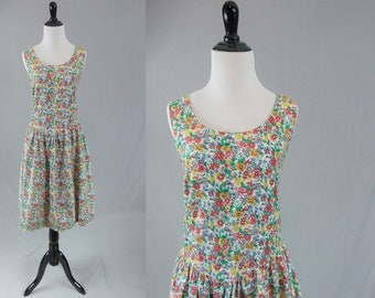 80s Floral Summer Sun Dress - Full Skirt - Cotton Calico - Open Tie Back - Gitano - Vintage 1980s - Size M L