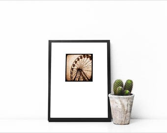 INSTANT DOWNLOAD of Ferris Wheel- sepia tone, ttv photography, square print, asymmetrical, print your own