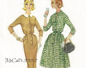 1960s Women's Front Button Dress Pattern Full or Slim Skirt McCalls 5552 Size 16 Bust 36 FF