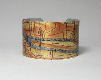 Keuka Lake New York Finger Lakes Map Cuff Bracelet Unique Gift for Men or Women