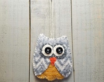 Wool Felt Owl Ornament- Yellow, gray and white
