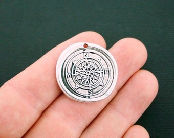 BULK 10 Compass Wax Seal Charms Antique Silver Tone - SC4596