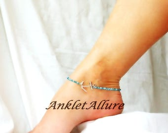Anchor Anklet Beach Ankle Bracelet Beach Anklet Blue Body Jewelry Fetish Foot Jewelry