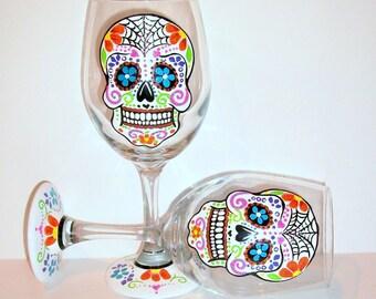 Sugar Skull Hand Painted Wine Glasses Set of 2 - Dia de Los Muertos Mexican Day of the Dead  Tradition Celebration Sugar Skull Art Skull