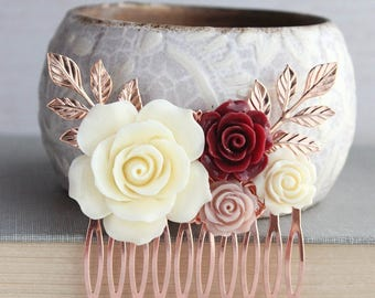 Floral Hair Comb, Rose Gold Branches, Deep Red Rose, Ivory Cream Rose, Dusty Pink Wedding, Bridal Hair Piece, Bridesmaids Gift, Off White