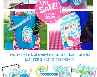 Pool Party Decorations | Girl Swimming Pool Birthday | Summer Birthday Party | Beach Birthday | Pool Party Banner | Amanda's Parties To Go