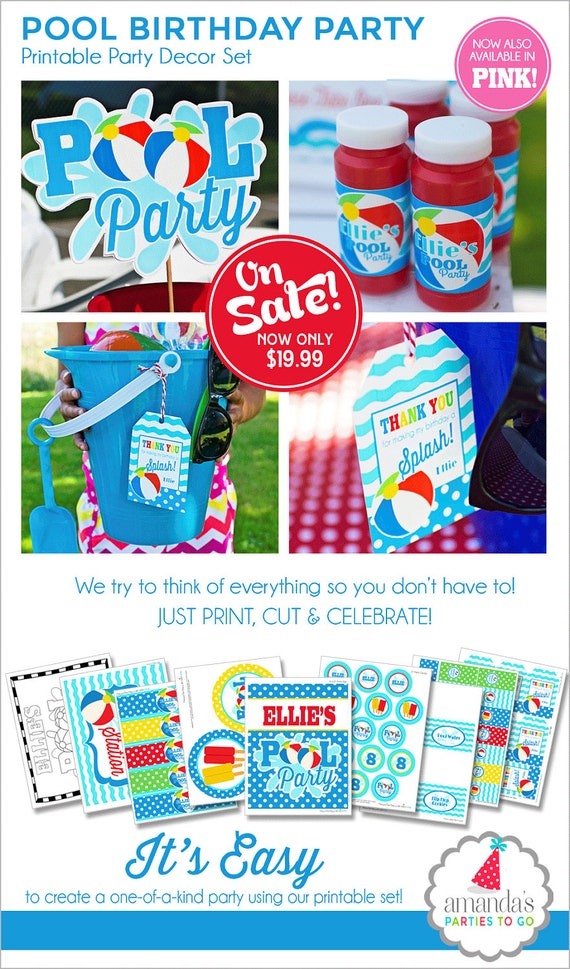 Pool Party Decorations Swimming Pool Birthday Summer