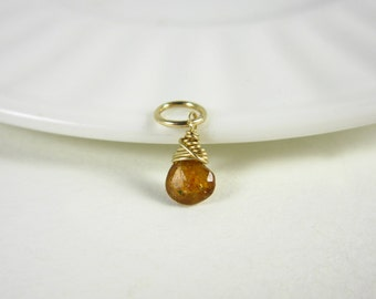 H - Tiny Orange Sapphire Pendant - Sapphire Jewelry - Natural Stone Jewelry - September Birthstone Charm - Healing Crystals and Stones