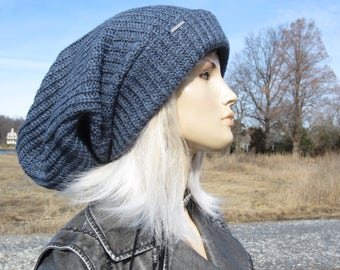 Oversized Slouch Tam Hat Indigo Denim Blue Clothing Thick Bulky Chunky Big Baggy Wide Cuffed Loose Beanie for Women A2104