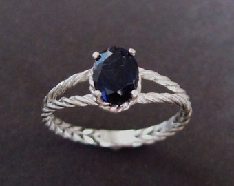 Braided Rope Ring, Iolite Ring, Alternative Engagement Ring, Gemstone Ring Weaved Rope Silver Ring, Oval Blue Purple Ring, Infinity Ring