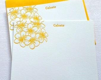 Plumeria Personalized Letterpress Stationery Honey Gold Frangipani Flowers
