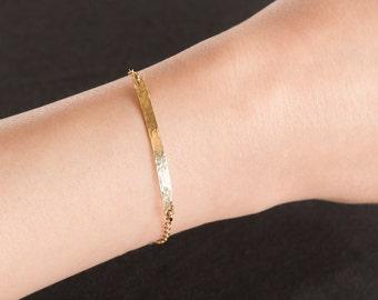 Hammered Bar Bracelet, Delicate gold bar bracelet, Narrow bar bracelet, 14K Gold Filled, Sterling Silver, or Rose Gold Filled