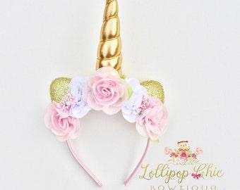Pink and Gold Unicorn Headband