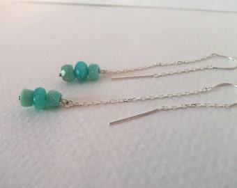 Peruvian Blue Green Natural Opal Handmade Threader Earrings Sterling Silver