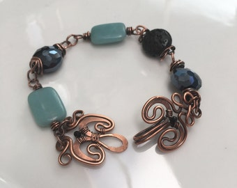 Blue Amazonite Bracelet Handmade of Forged Copper by JeanineDesigns