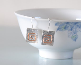 Square Spiral Earrings - Sterling Silver Copper Wire Wrapped Metalwork Hammered Jewellery Gift for Her by Emma Dickie Design