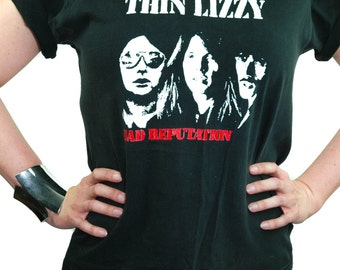 Vintage THIN LIZZY shirt Bad Reputation 90s Trash and Vaudeville Punk Rock 90s Tee 90s shirt NY Band Tee Boho Rocker L