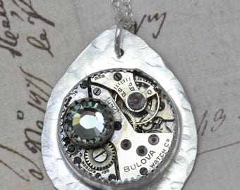 """Sterling Silver Steampunk Necklace Black Diamond Necklace 20"""" Necklace Vintage Watch Necklace Steampunk Jewelry Unique Necklace Soldered"""