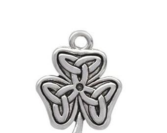 Silver Shamrock with Celtic Knot Charm, Qty.1