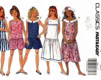Butterick 6181 Sewing Pattern for Girls' Pullover Dress and Jumsuit - Uncut - Size 7, 8, 10