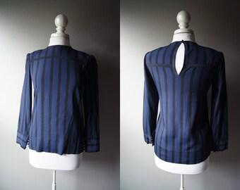 Vintage ALBERT NIPON Blouse Navy Top Albert Nipon Top Black Stripe Blouse Secretary Blouse Small Blouse Size 2 Navy Top Blue Blouse Mad Men