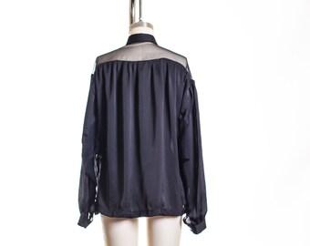 Vtg Sheer Shoulder and Sleeve Soft Blouse size  L