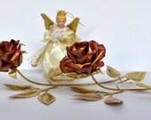 Vintage Metal Roses Floral Sculpture Jere Era (Set of 2)
