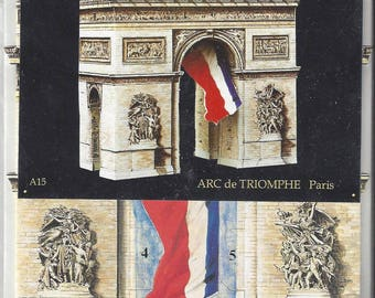Vintage Arc de Triomphe Carte Maquette 3D Model Card, C1988